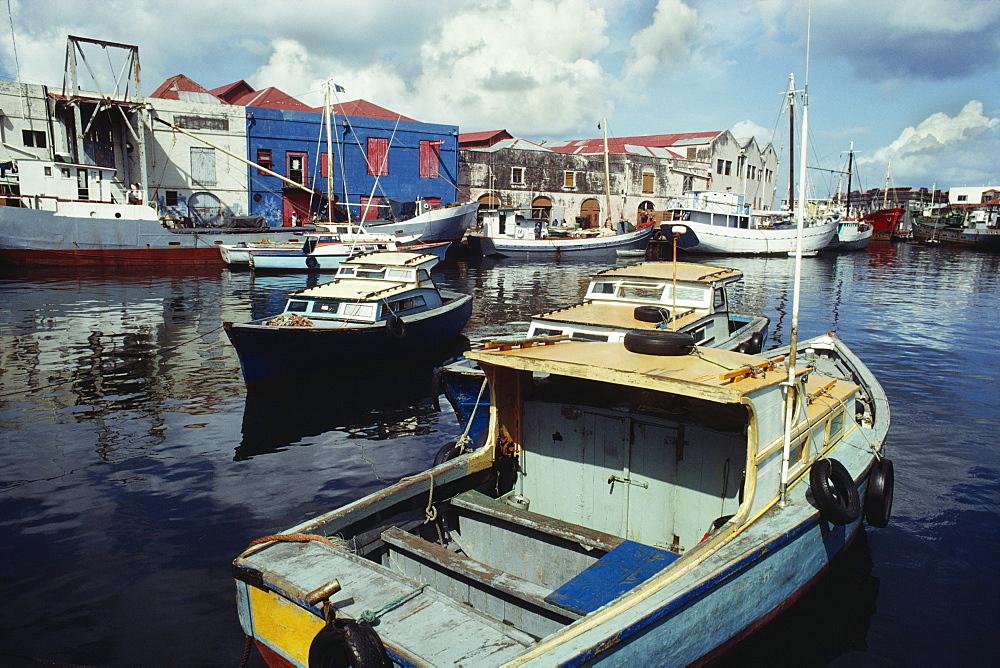 Boats anchored at a port, Bridgetown, Barbados, Caribbean