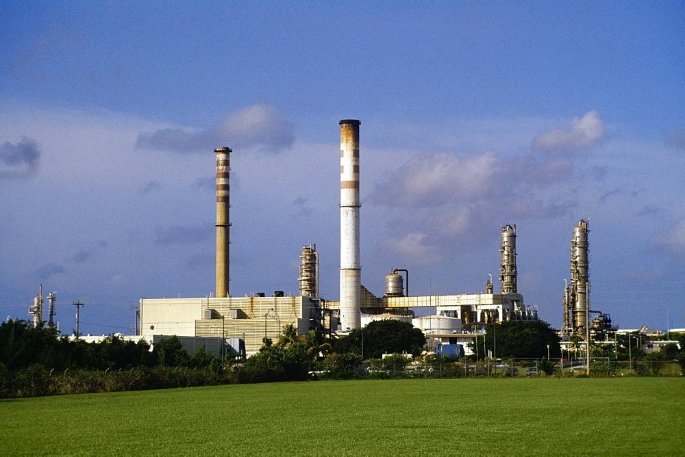 Side view of Uniroyal Chemical Plant on a sunny day, Paradise Island, Nassau, Bahamas