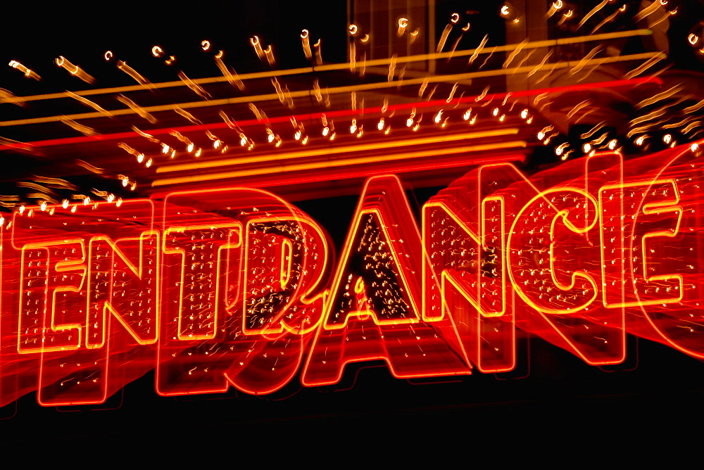 Entrance sign lit up at night, Las Vegas, Nevada, USA