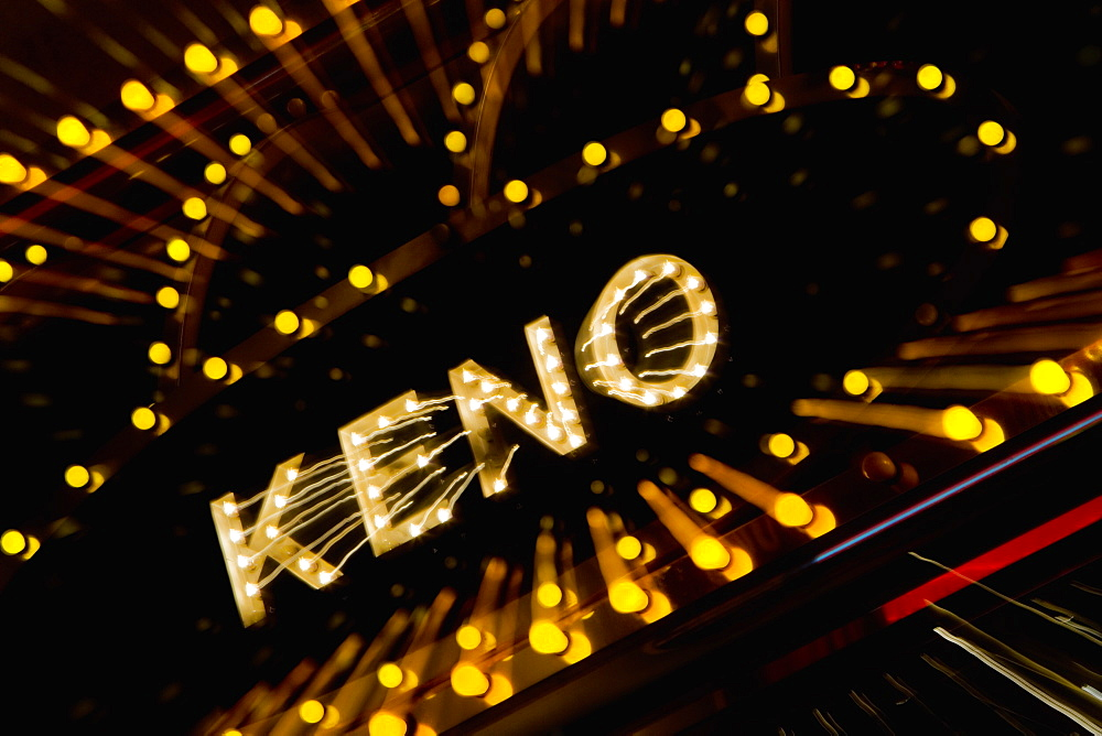 High angle view of a Keno neon sign, Las Vegas, Nevada, USA