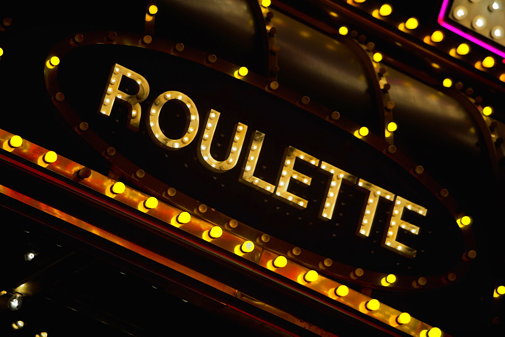 Low angle view of a roulette sign, Las Vegas, Nevada, USA
