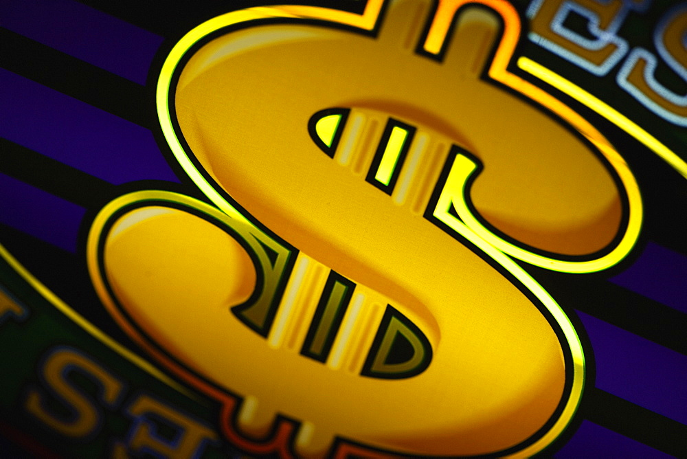 Close-up of a dollar sign on a slot machine in a casino, Las Vegas, Nevada, USA