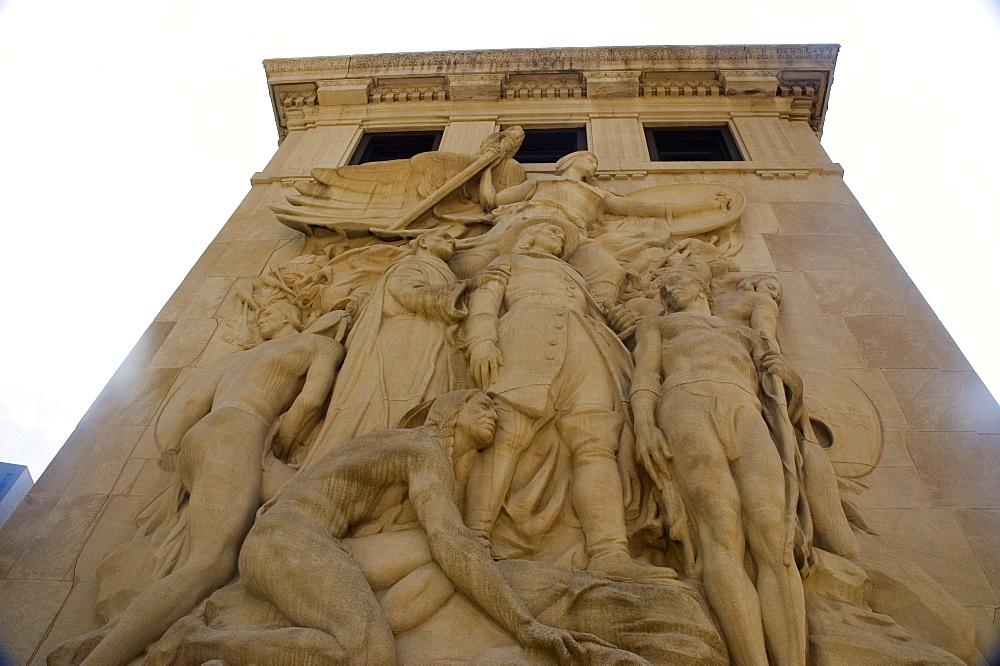 Low angle view of a sculpture, Michigan Avenue Bridge, Chicago, Illinois, USA