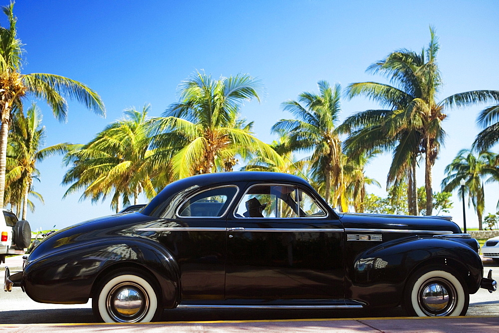 Close-up of a vintage car parked on the roadside, Miami, Florida, USA