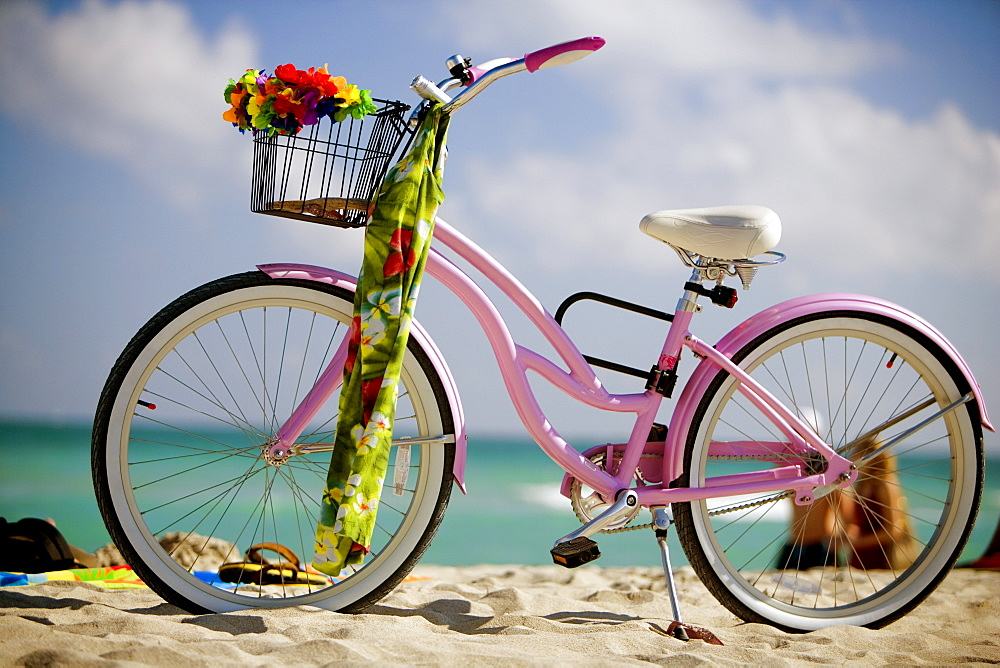 Close-up of a bicycle on the beach, South Beach, Miami, Florida, USA - 788-5027