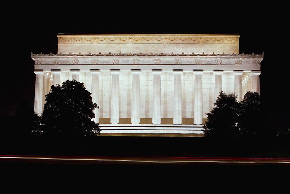 Memorial building lit up at night, Lincoln Memorial, Washington DC, USA