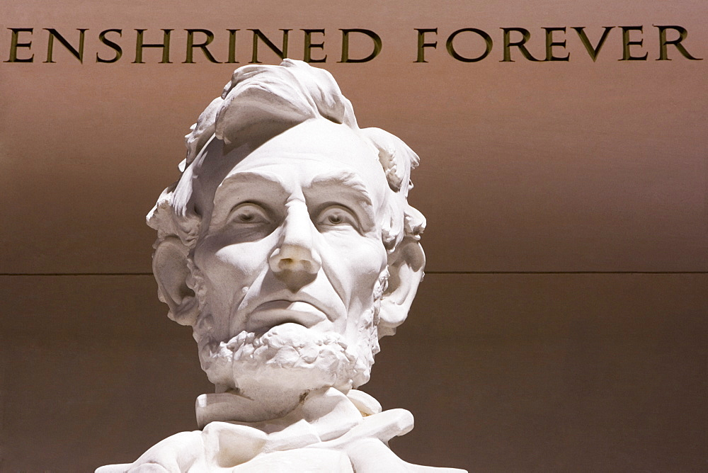 Close-up of Abraham Lincoln Statue, Lincoln Memorial, Washington DC, USA