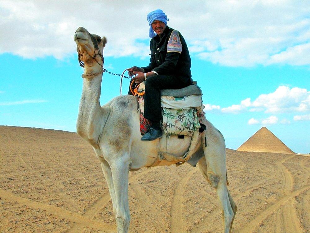 Portrait of a man riding a camel