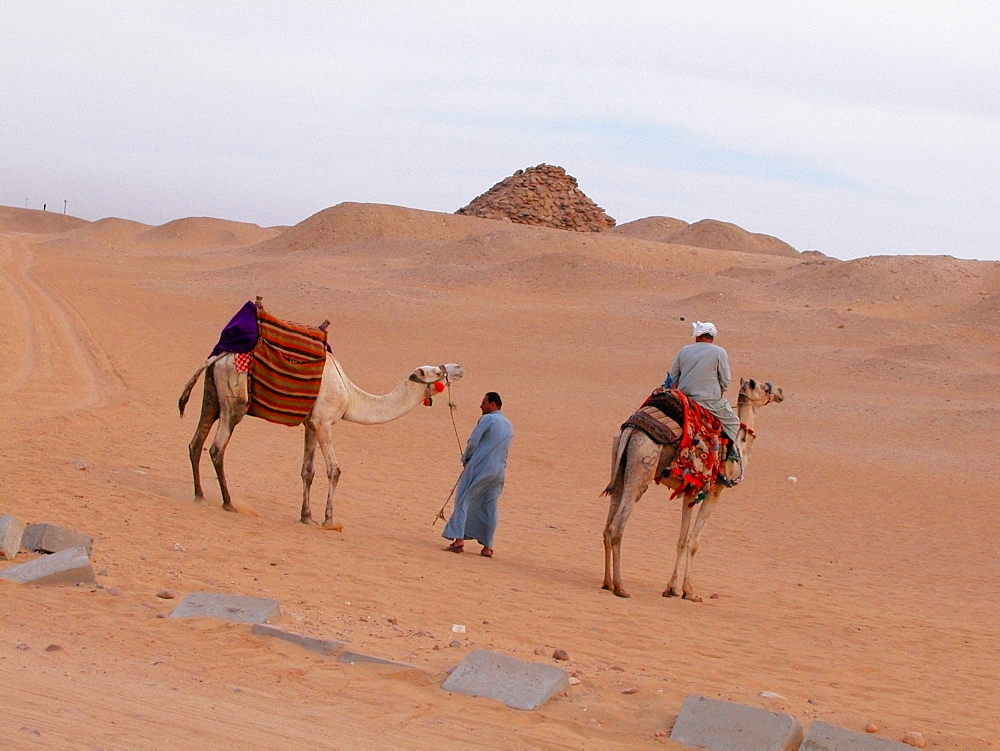 Rear view of a man riding a camel