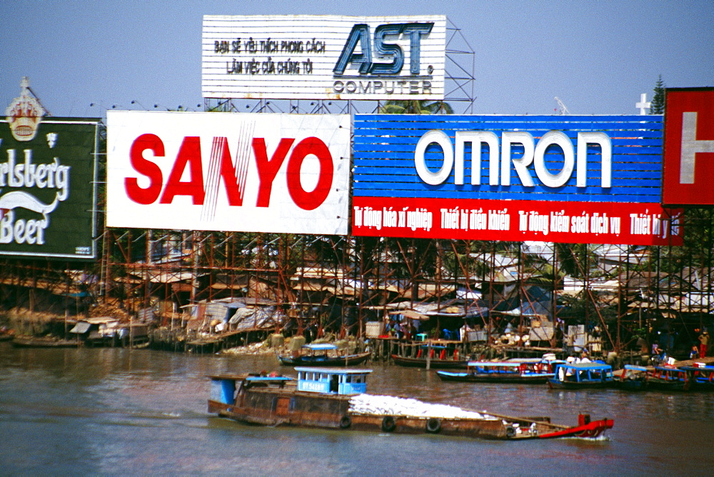 Billboards along Saigon River, Vietnam