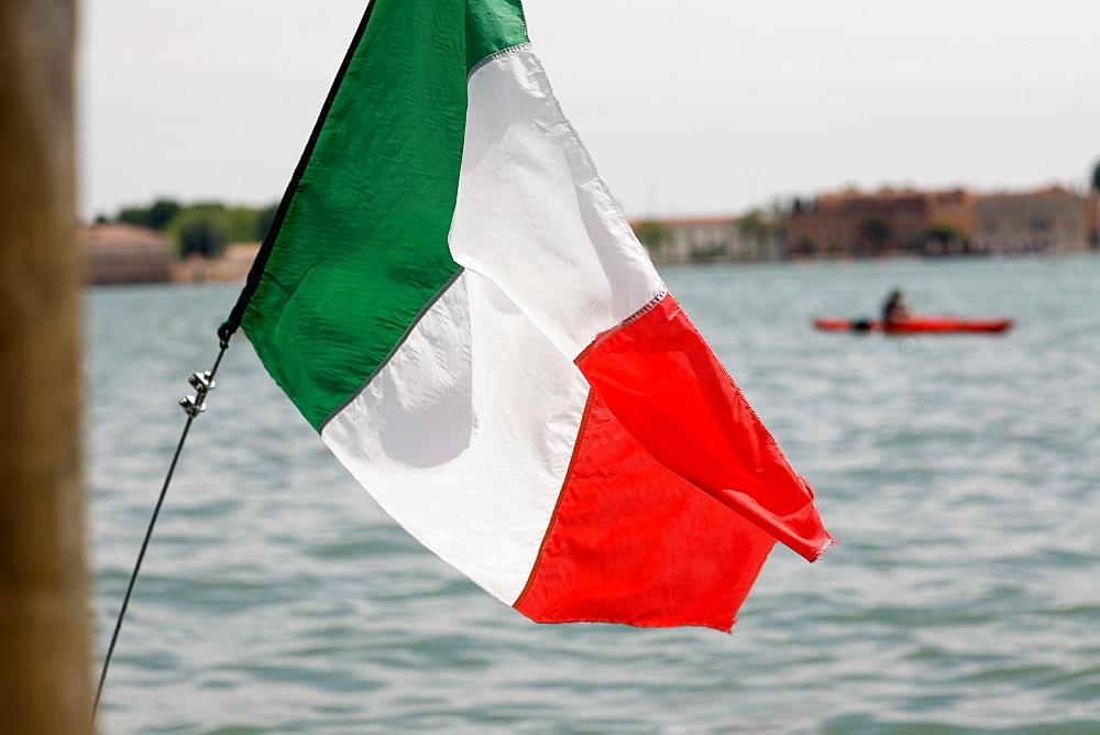 Close-up of an Italian flag, Venice, Veneto, Italy