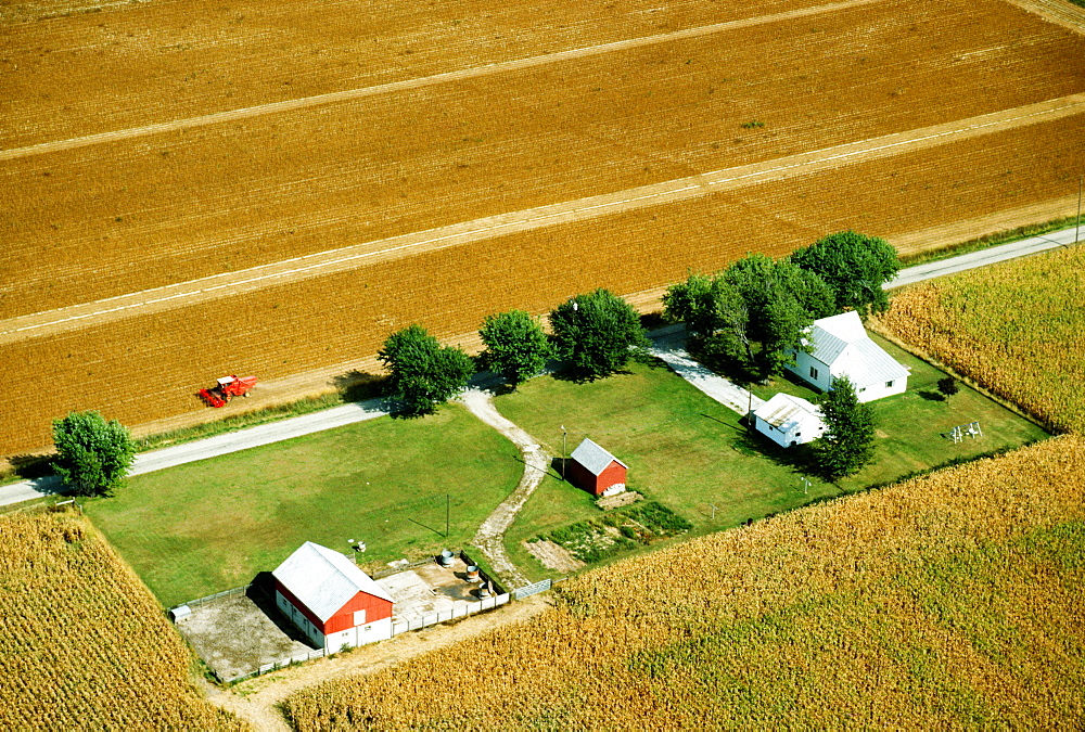 Aerial view of farms at harvest time in Clinton county , OH