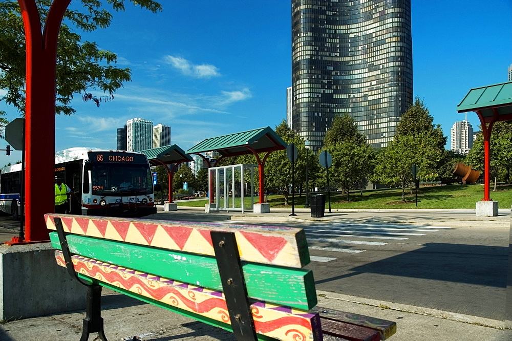 Rear view of a bench, Lake Point Tower, Chicago, Illinois, USA