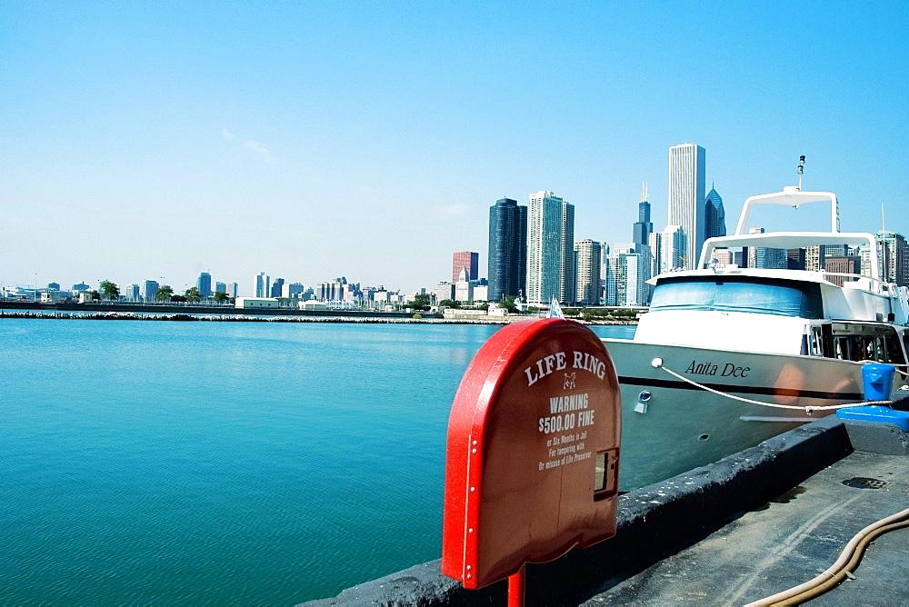 Yacht moored at a harbor, Lake Michigan, Chicago, Illinois, USA