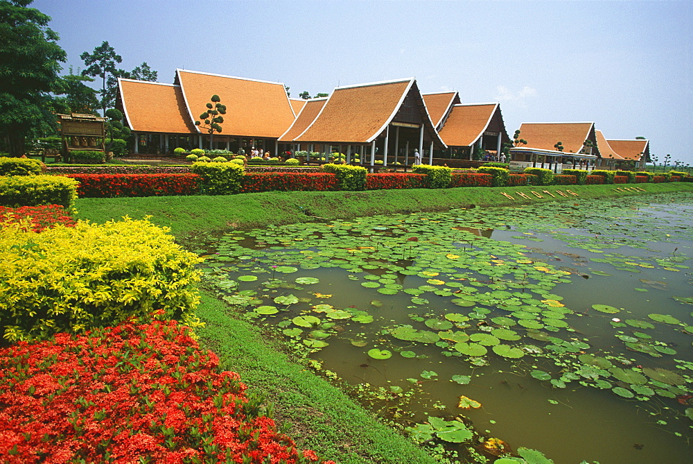 Pond in a formal garden, Sukhothai International Airport, Sukhotai, Thailand