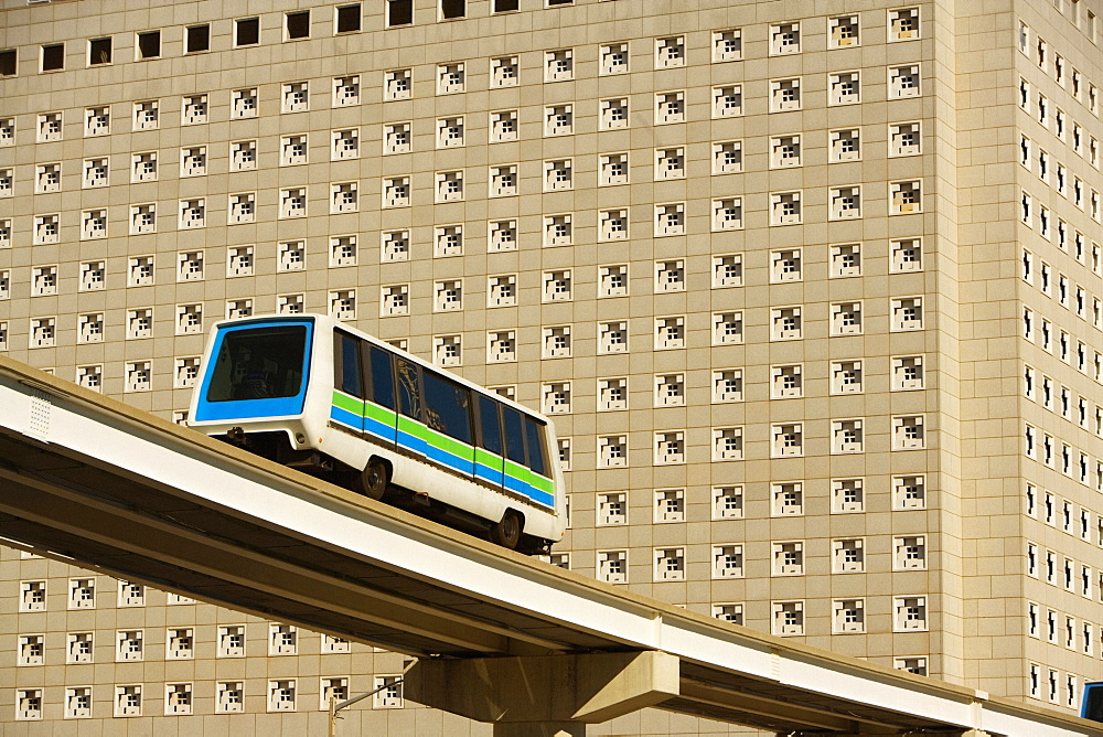 Low angle view of a bus crossing a bridge, Miami, Florida, USA - 788-6610