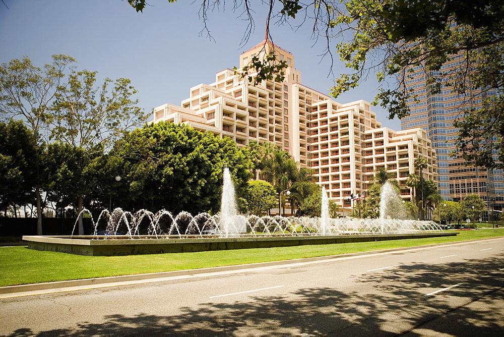 Fountain on a lawn outside a building, Sacramento, California, USA