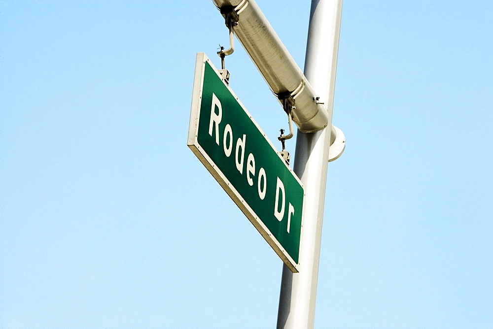 Low angle view of a Rodeo Drive Street Sign, Los Angeles, California, USA