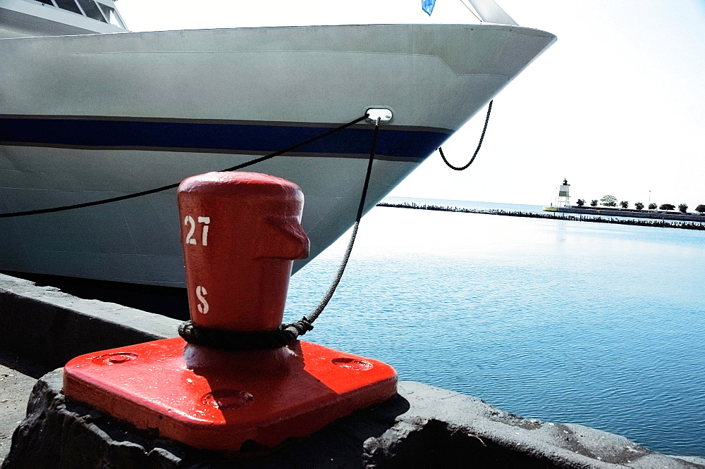Close-up of a yacht moored at a harbor, Lake Michigan, Chicago, Illinois, USA