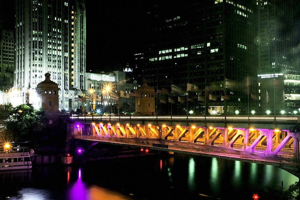 Bridge in a city lit up at night, Michigan Avenue Bridge, Chicago River, Chicago, Illinois, USA