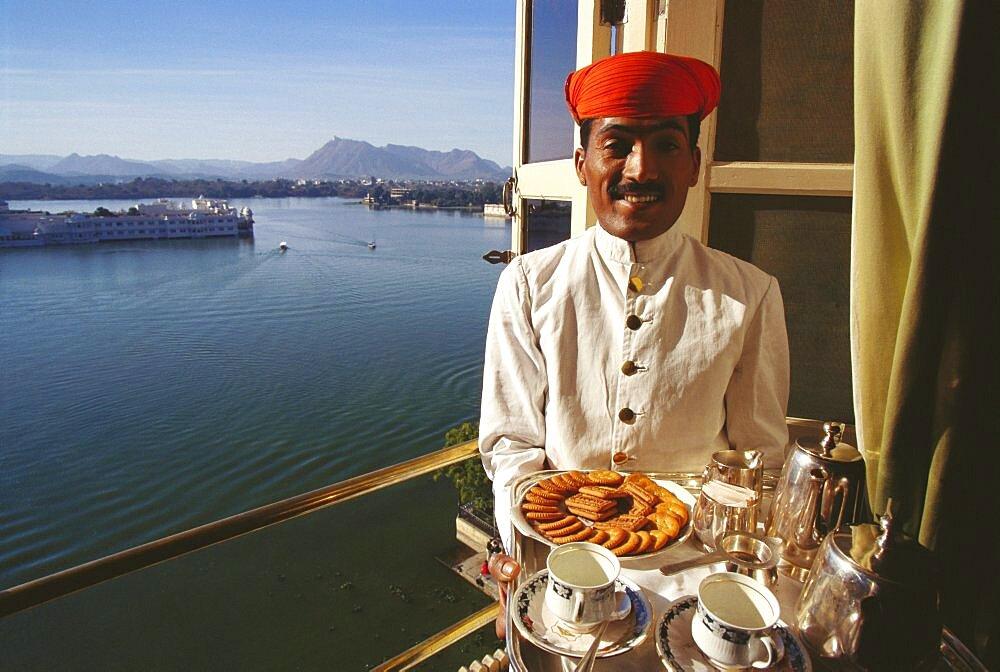 Portrait of a waiter serving tea, Jaipur, Rajasthan, India