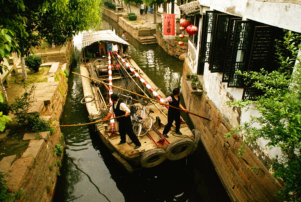 High angle view of a barge in a canal, Zhouzhuang, Kunshan City, Jiangsu Province, China