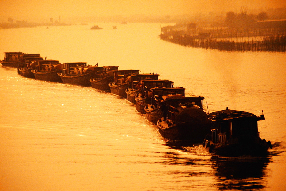 High angle view of barges in a row in canal, Grand Canal, China