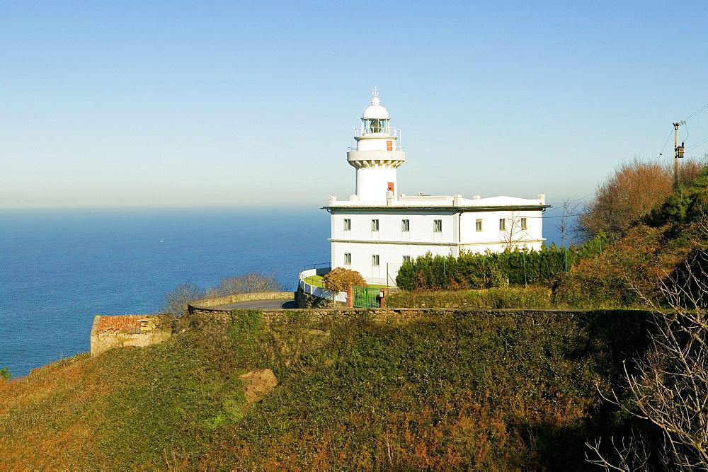 High angle view of a light house on the coast, Spain