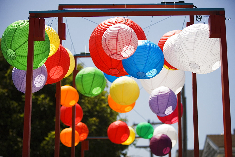 Low angle view of colorful Chinese lanterns
