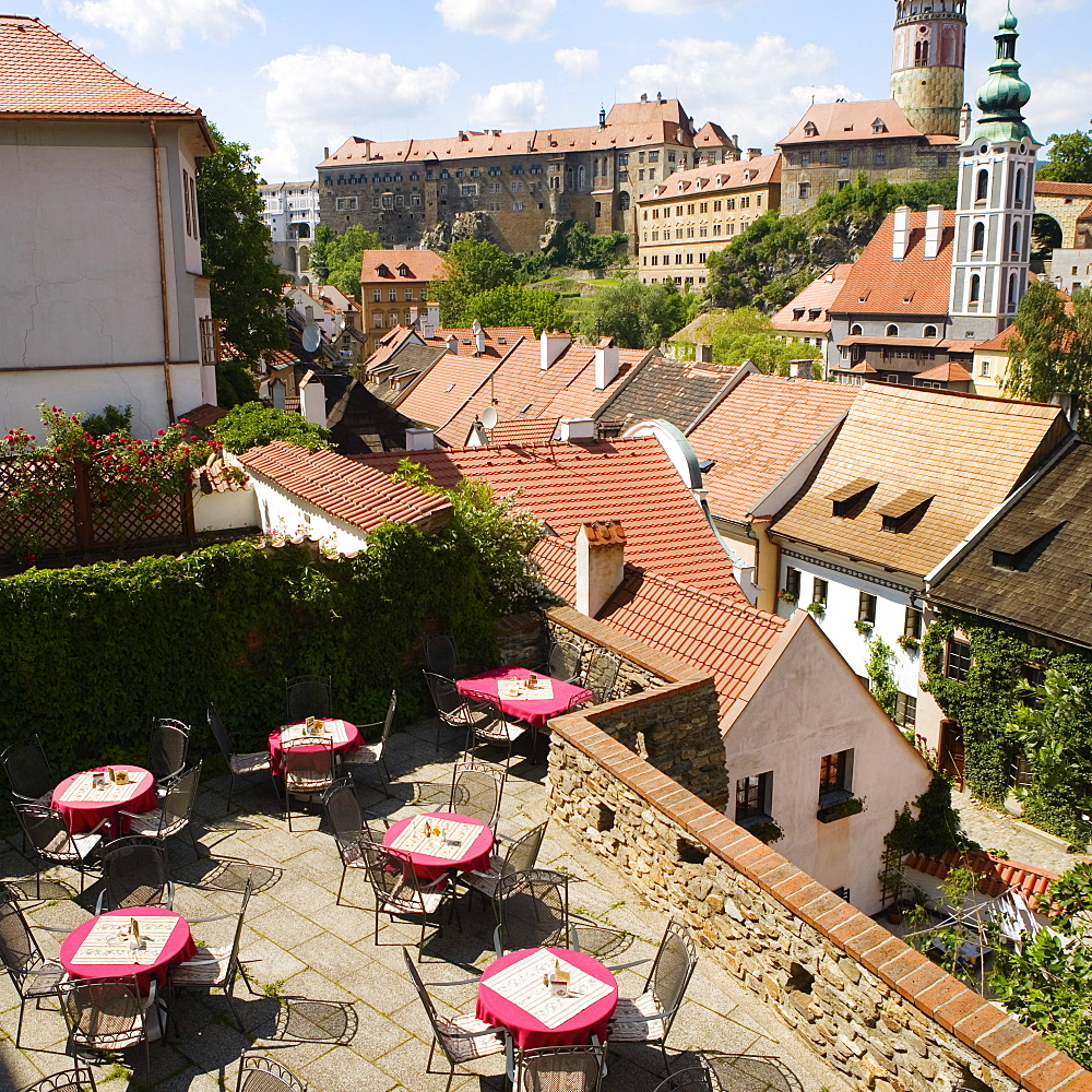 High angle view of table and chairs on the terrace of a building, Czech Republic