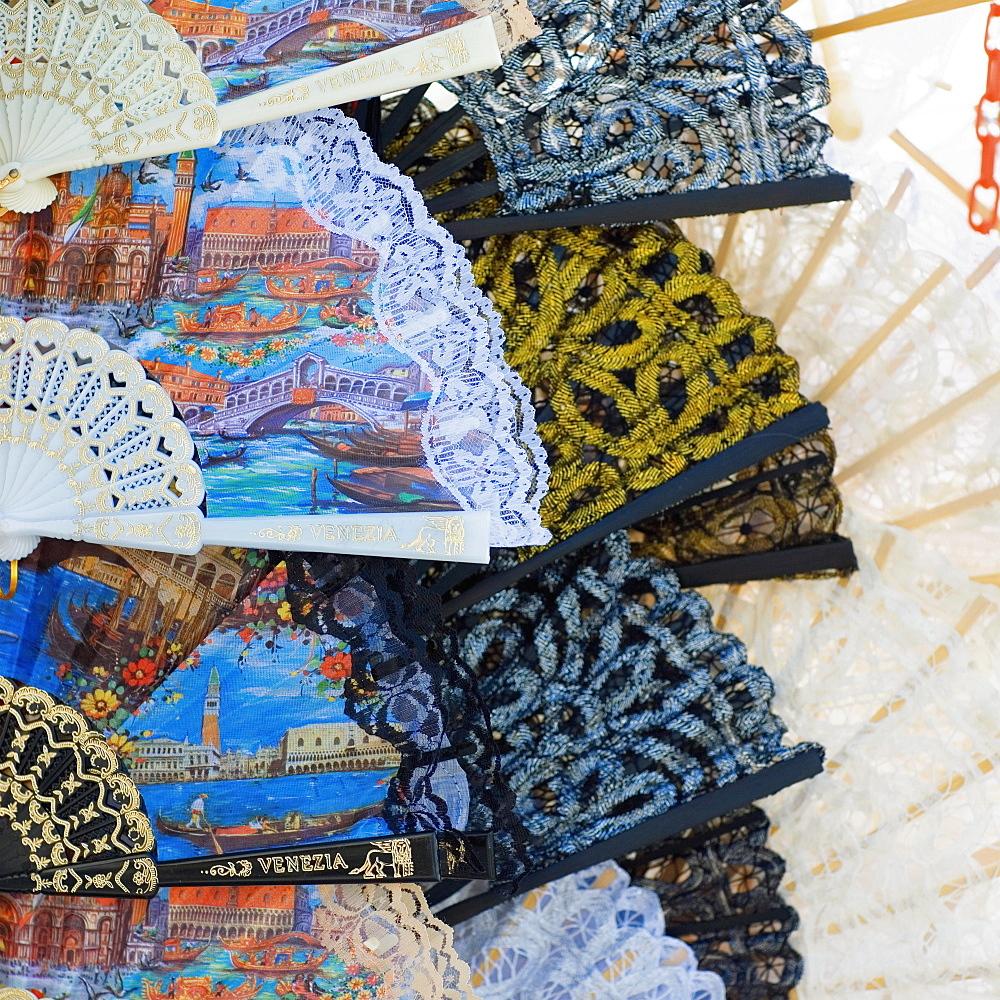 Close-up of folding fans, Venice, Veneto, Italy