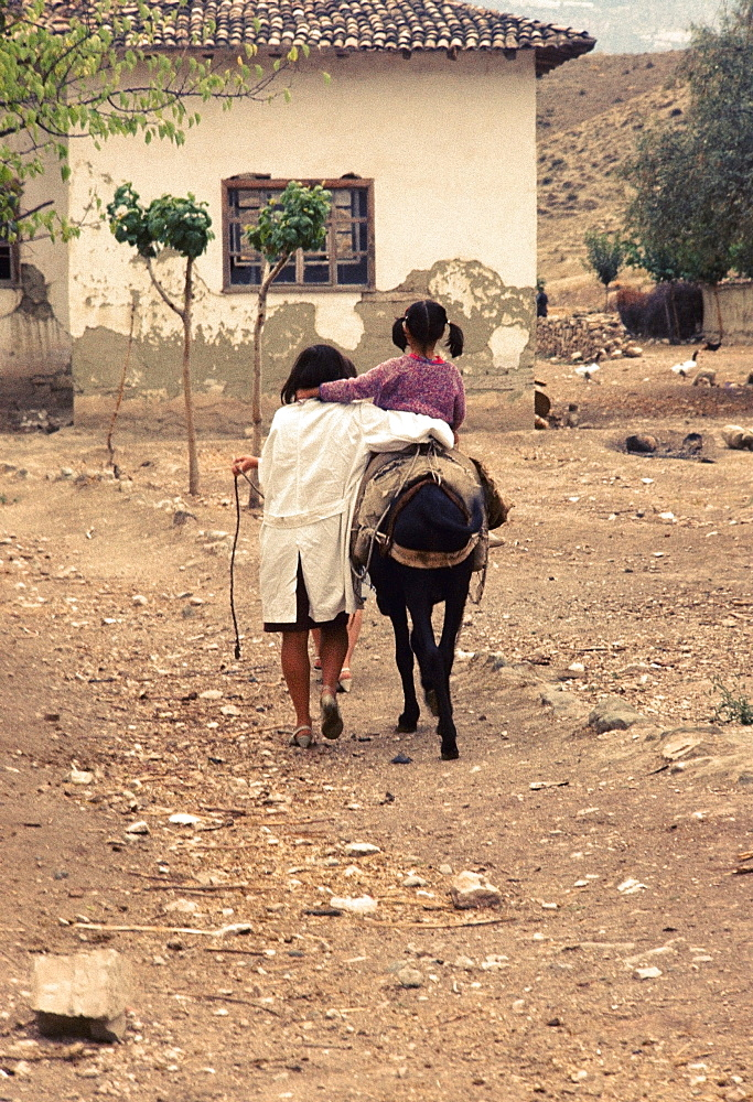 Rear view of a girl riding a donkey with her sister walking along her in a village, Turkey
