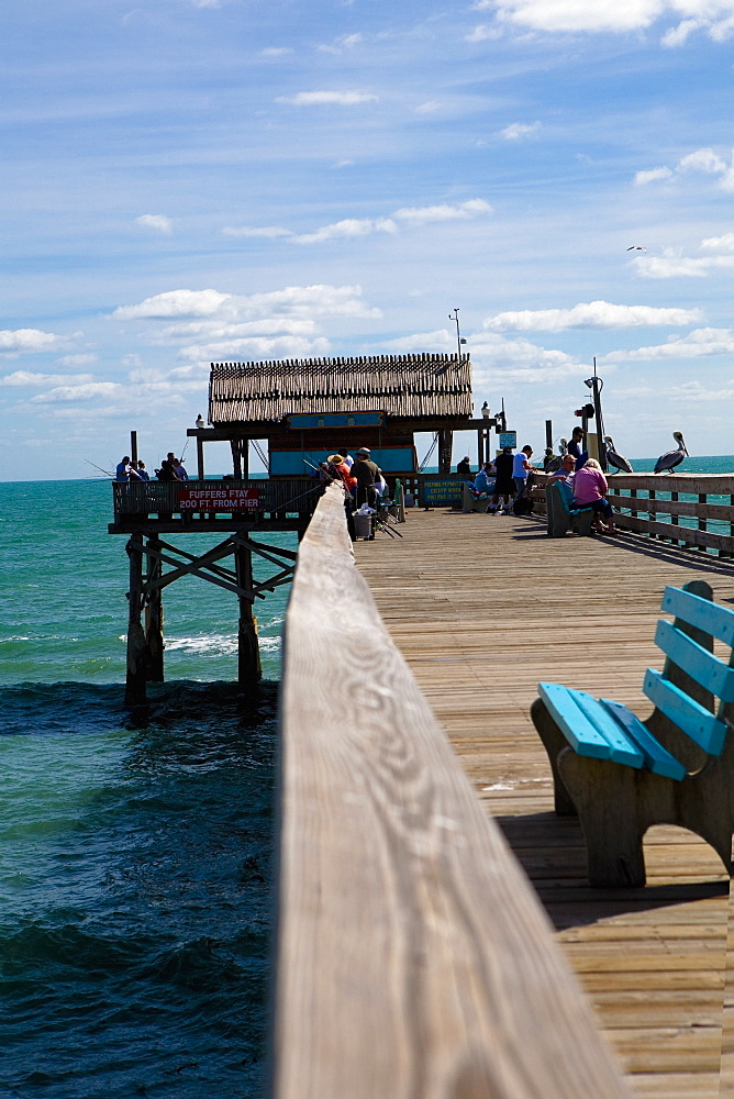 Tourists on a pier, Cocoa Beach, Florida, USA