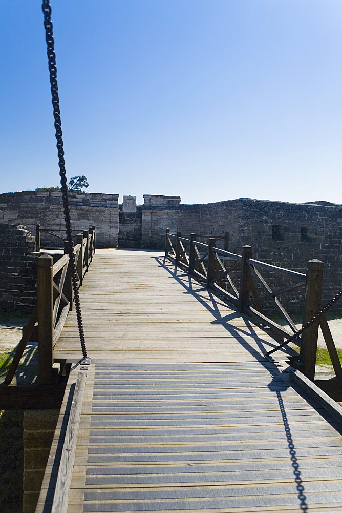 Footbridge leading to a castle, Castillo De San Marcos National Monument, St. Augustine, Florida, USA