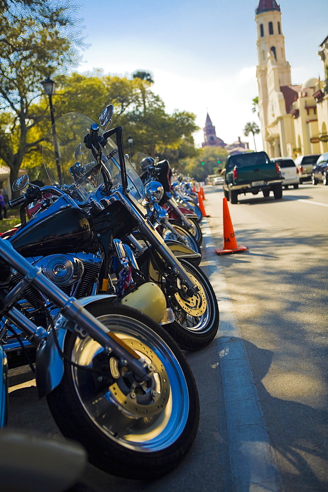 Motorcycle parking in front of a cathedral, St. Augustine, Florida, USA