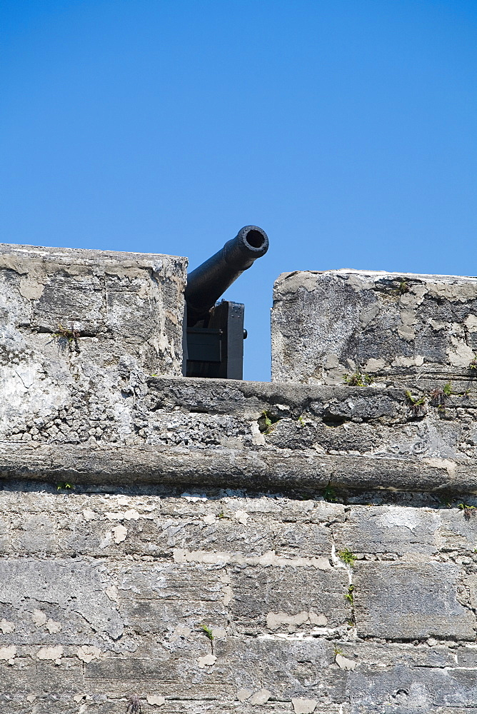 Low angle view of a cannon on top of a castle, Castillo De San Marcos National Monument, St Augustine, Florida, USA