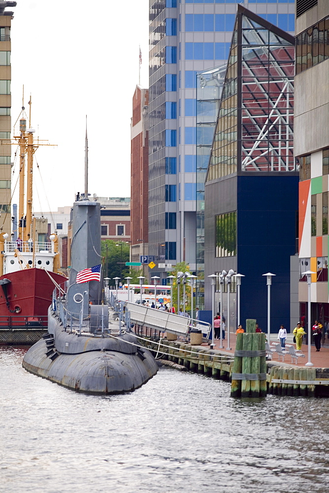 Submarine at a harbor, National Aquarium, Inner Harbor, Baltimore, Maryland, USA