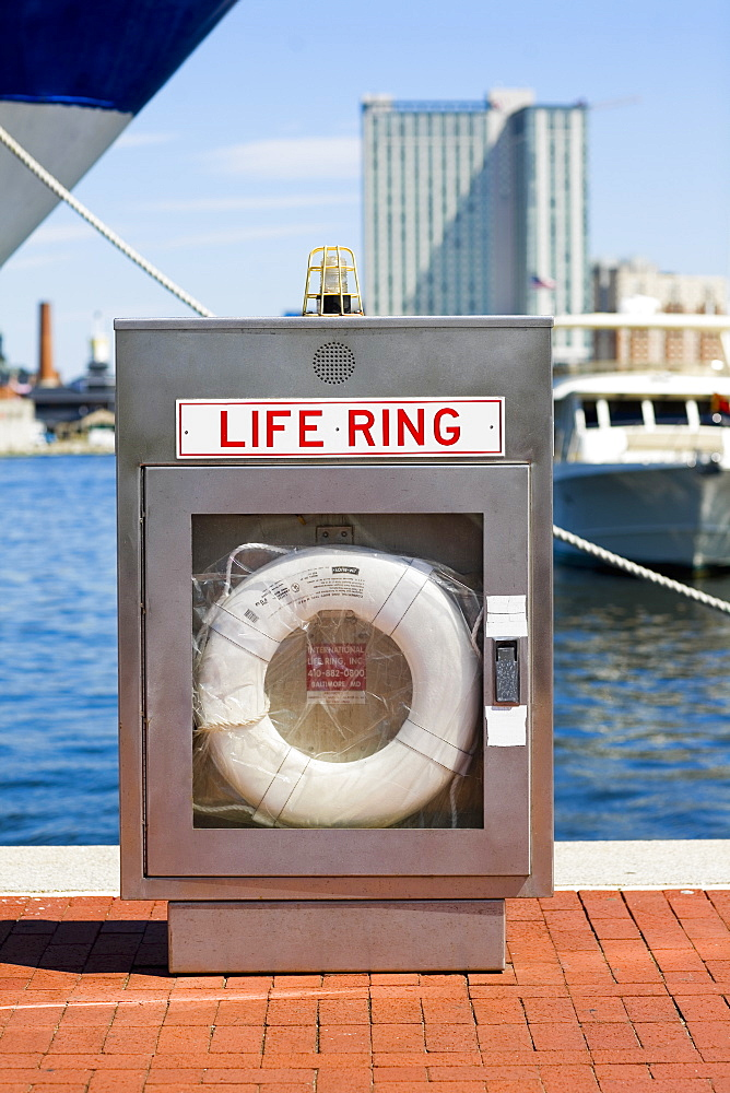 Life belt at a dock, Inner Harbor, Baltimore, Maryland, USA