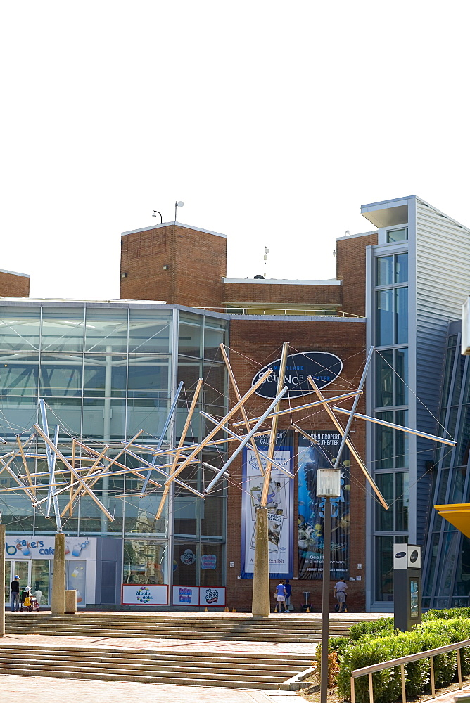Sculptures in front of a building, Maryland Science Center, Baltimore, Maryland, USA