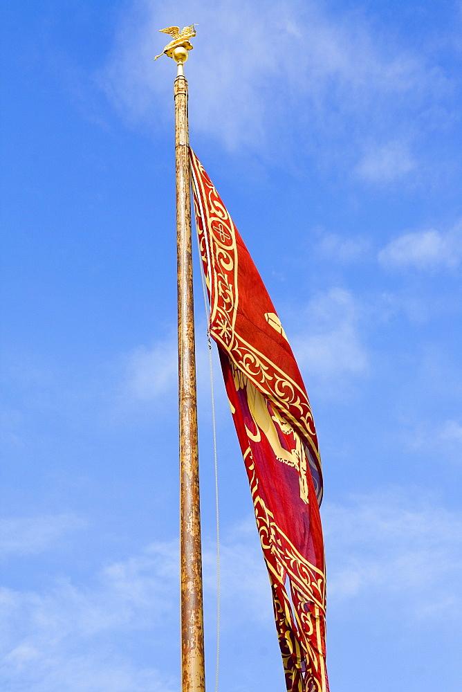 Close-up of a Venetian flag, Venice, Italy