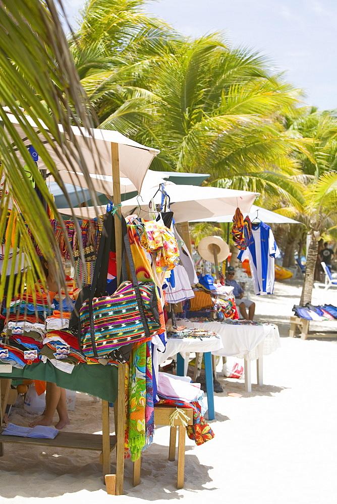 Market stall on the beach, Honduras