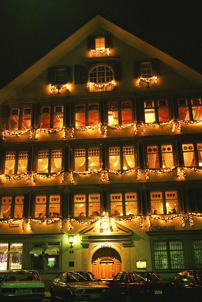 Building lit up at night, Guild House Restaurant, Zurich, Switzerland