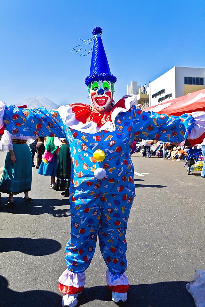 Clown dancing in the street, Arequipa, Peru