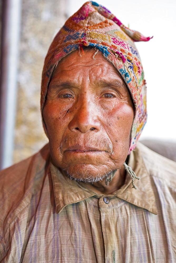 Portrait of a senior man wearing a cap, Peru