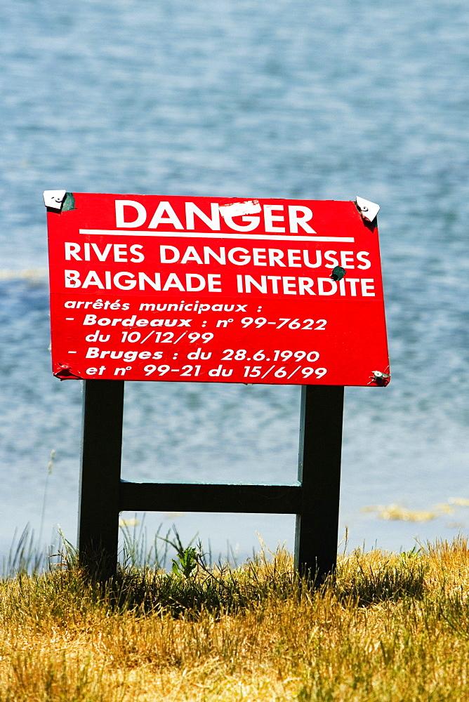 Information board at a lakeside, Bordeaux Lake, Bordeaux, Aquitaine, France