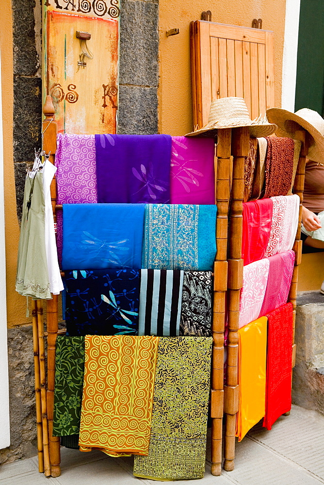 Clothes at a market stall, Cinque Terre National Park, Vernazza, La Spezia, Liguria, Italy