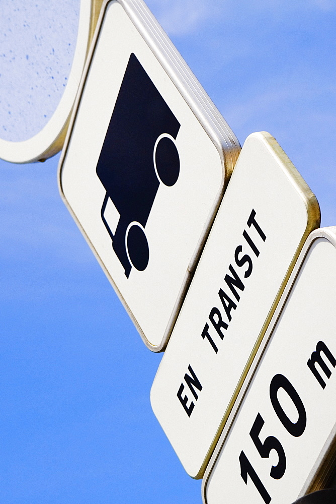 Low angle view of a speed limit sign, Le Mans, France