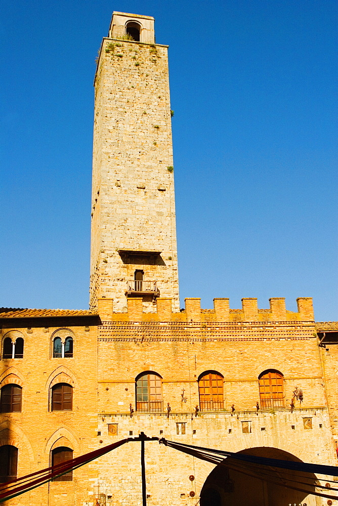 Low angle view of tower of a building, Monteriggioni, Siena Province, Tuscany, Italy