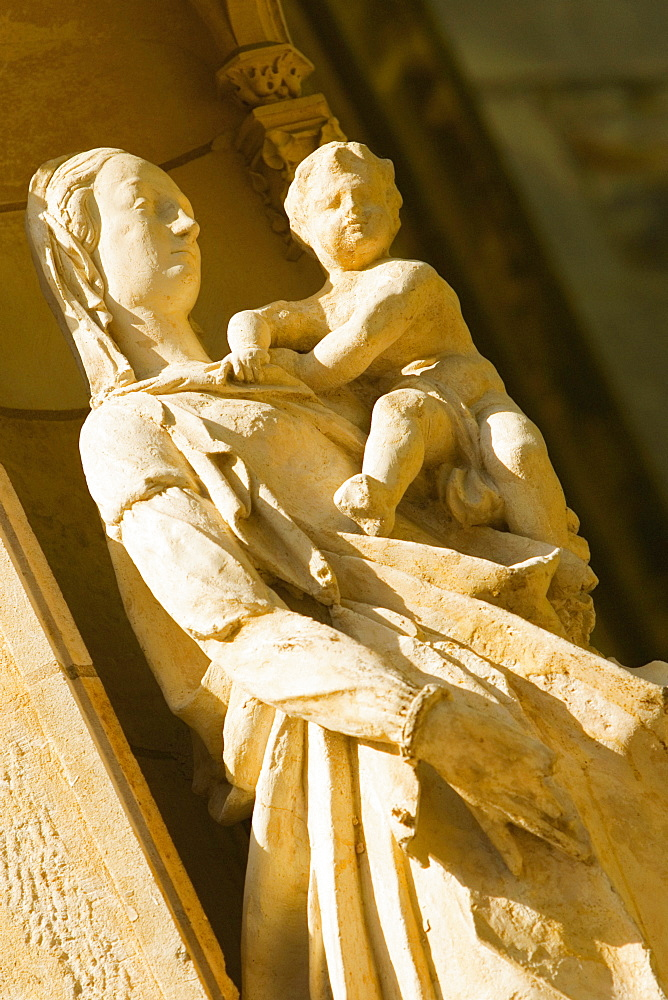 Statue of Virgin Mary and Jesus Christ in a cathedral, Le Mans Cathedral, Le Mans, France