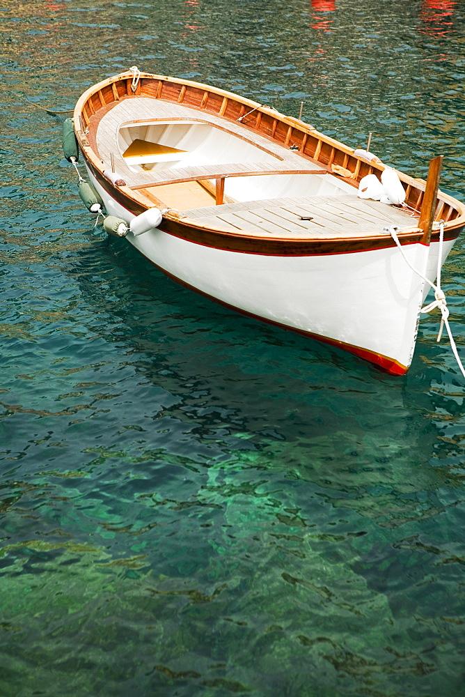 Boat moored in the sea, Italian Riviera, Genoa, Liguria, Italy